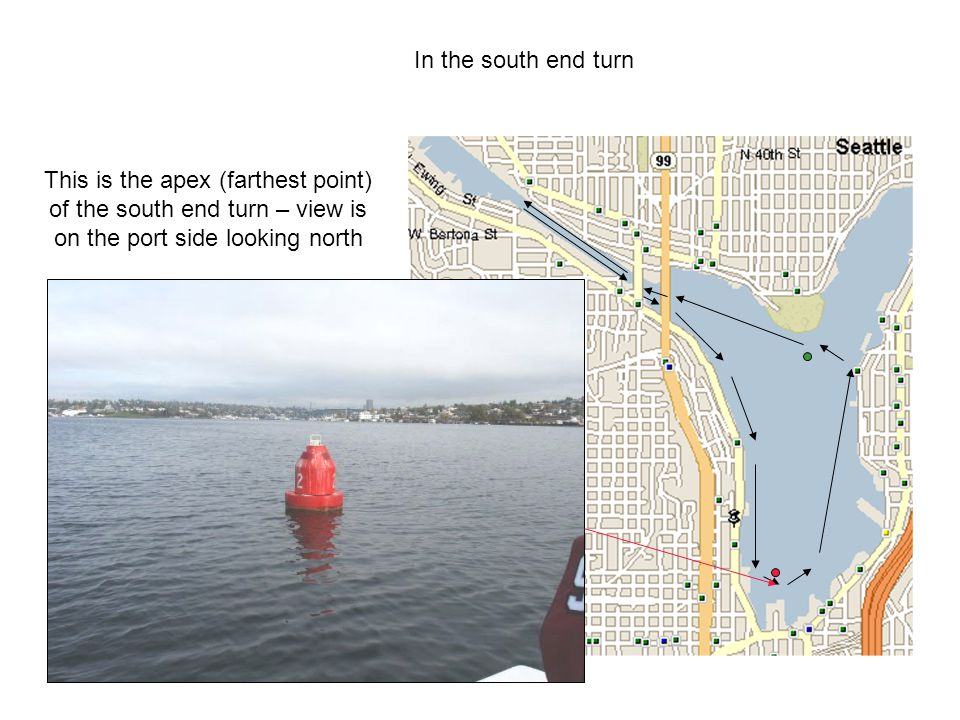 In the south end turn This is the apex (farthest point) of the south end turn – view is on the port side looking north