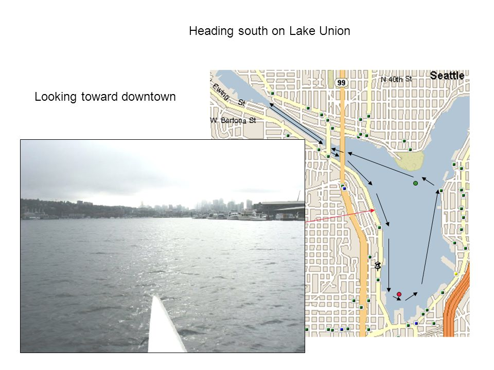 Heading south on Lake Union Looking toward downtown
