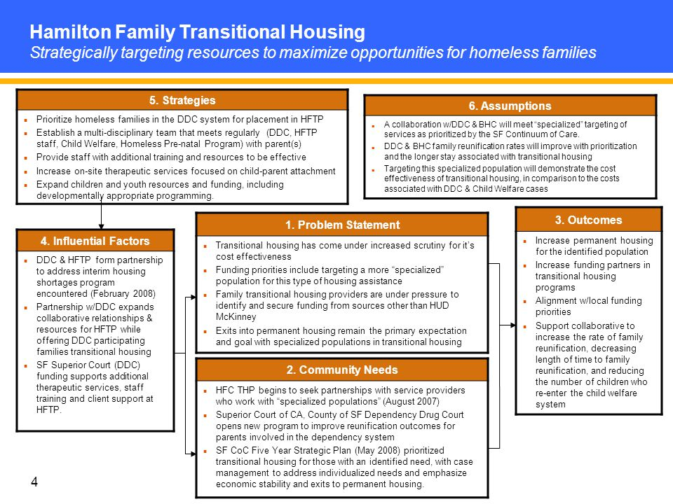4 5. Strategies Prioritize homeless families in the DDC system for placement in HFTP Establish a multi-disciplinary team that meets regularly (DDC, HF