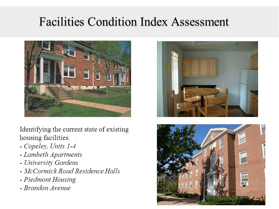 Identifying the current state of existing housing facilities.