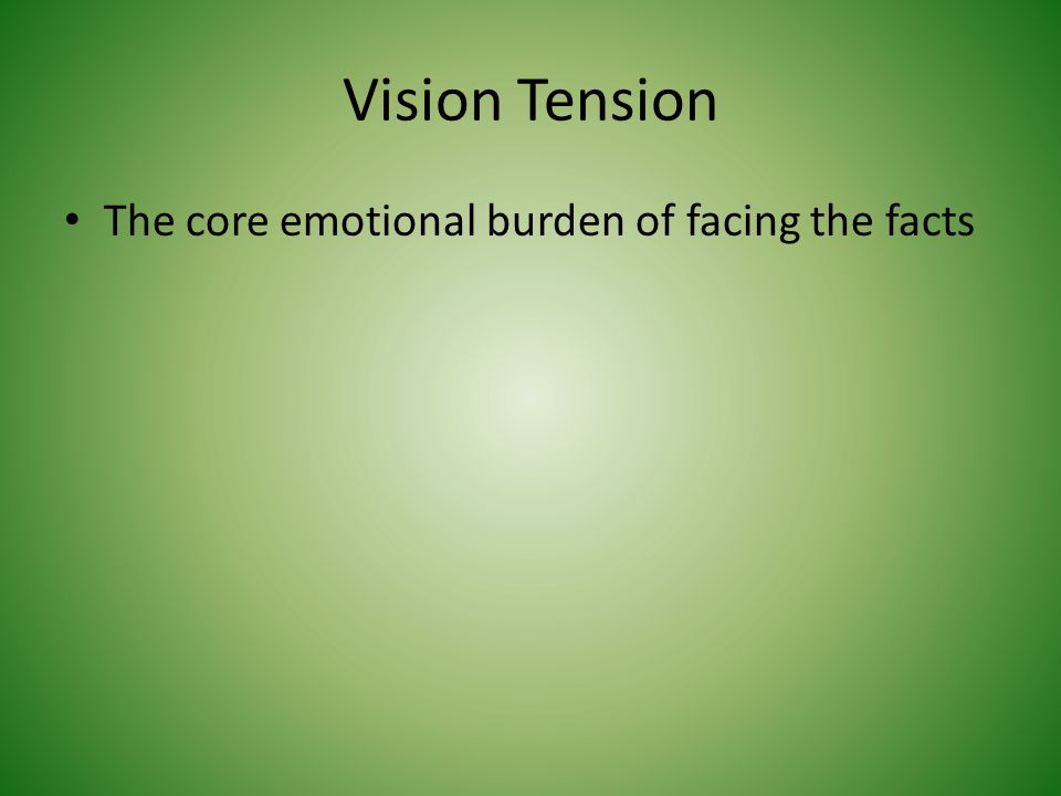Vision Tension The core emotional burden of facing the facts