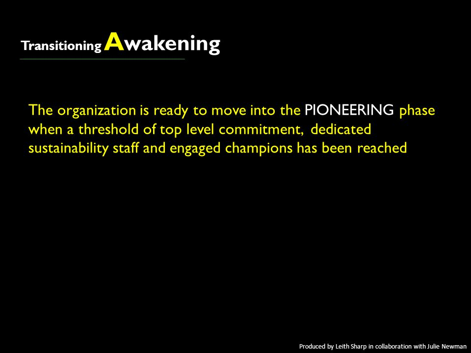 = = awakeningawakening Transitioning A wakening The organization is ready to move into the PIONEERING phase when a threshold of top level commitment,
