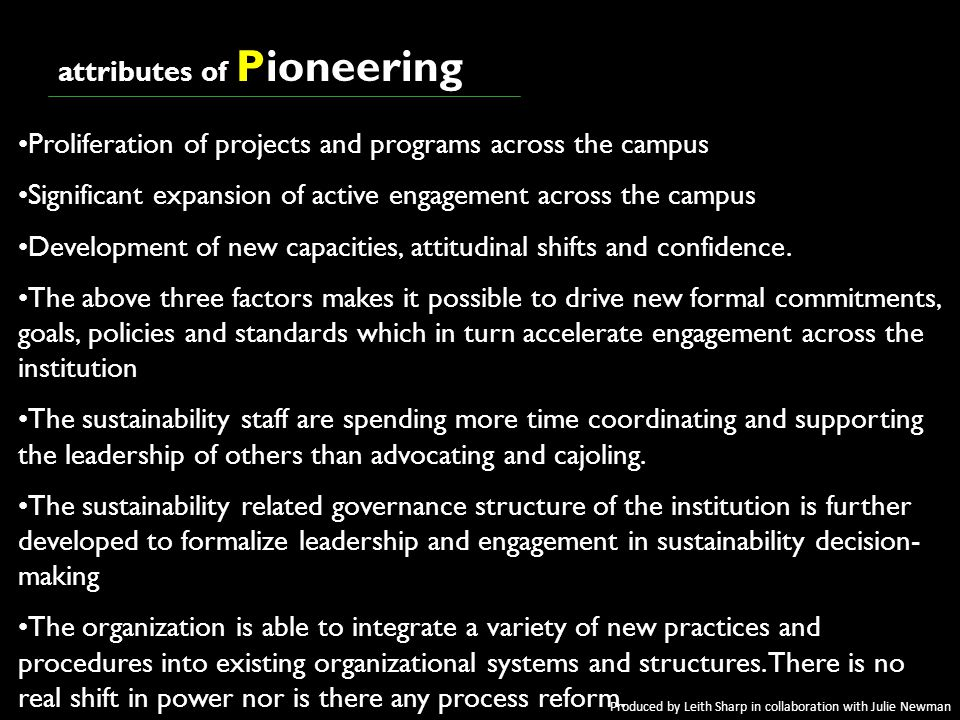 awakeningawakening attributes of Pioneering Proliferation of projects and programs across the campus Significant expansion of active engagement across