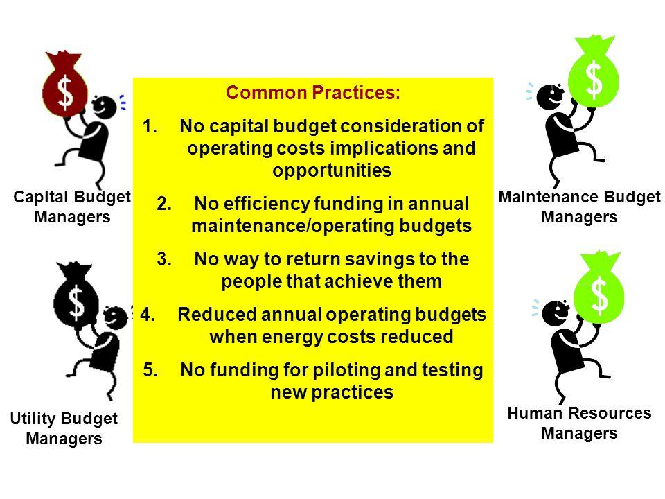Capital Budget Managers Maintenance Budget Managers Utility Budget Managers Human Resources Managers Common Practices: 1.No capital budget considerati