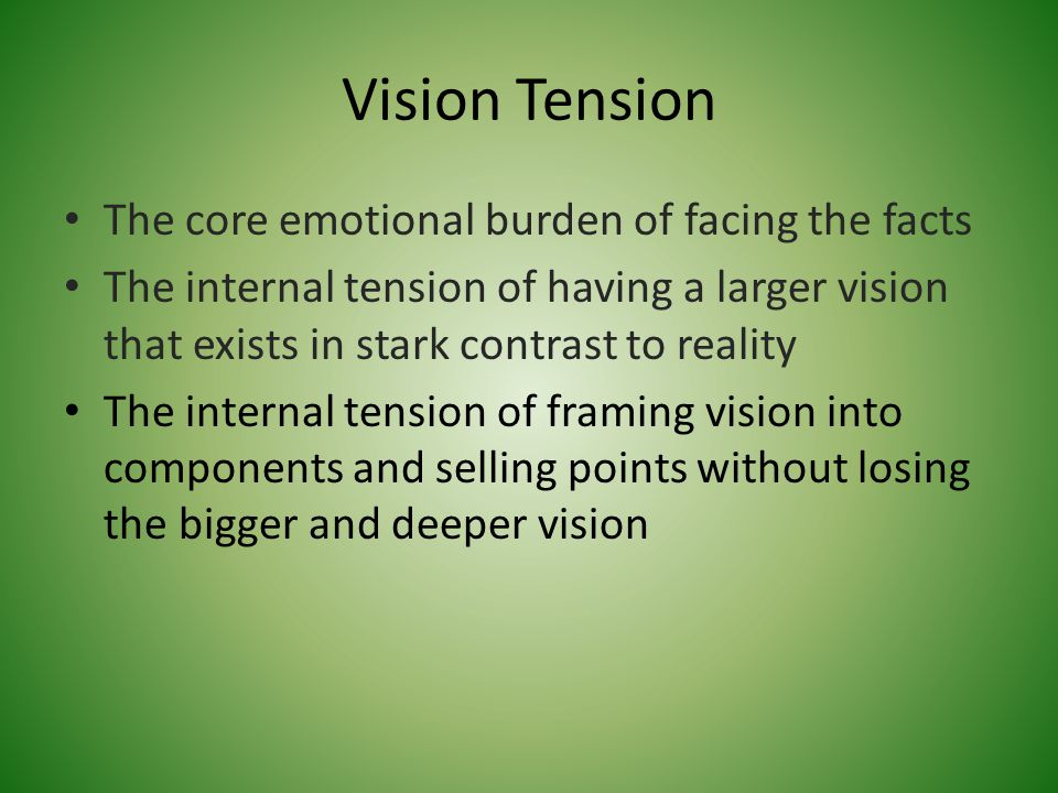 Vision Tension The core emotional burden of facing the facts The internal tension of having a larger vision that exists in stark contrast to reality T
