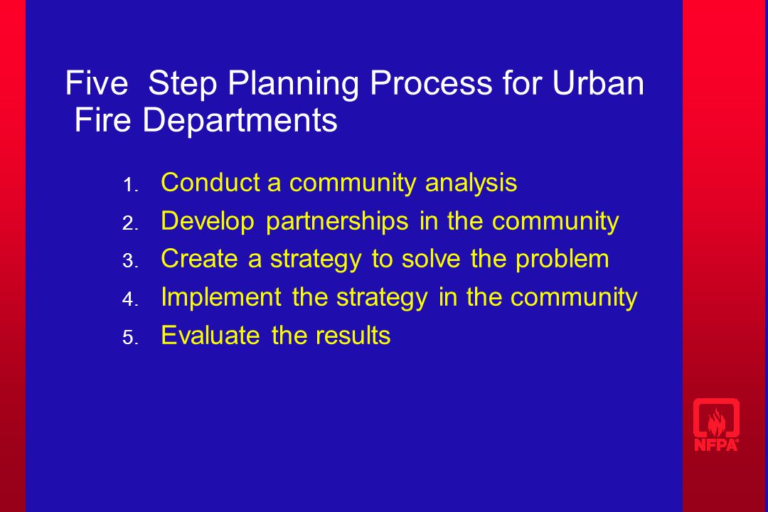 Five Step Planning Process for Urban Fire Departments 1.