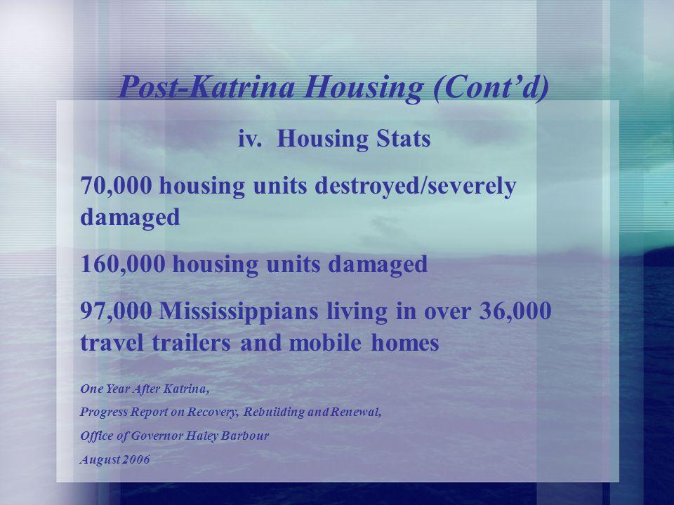 iii. Single Family Housing Damaged Units County Owner OccupiedRenter Hancock 82%121% Harrison62% 78% Jackson61% 73% GulfGov Reports: One Year Later Au