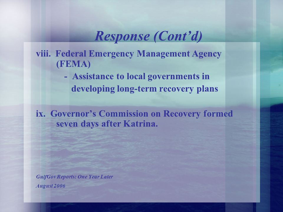 Response (Contd)