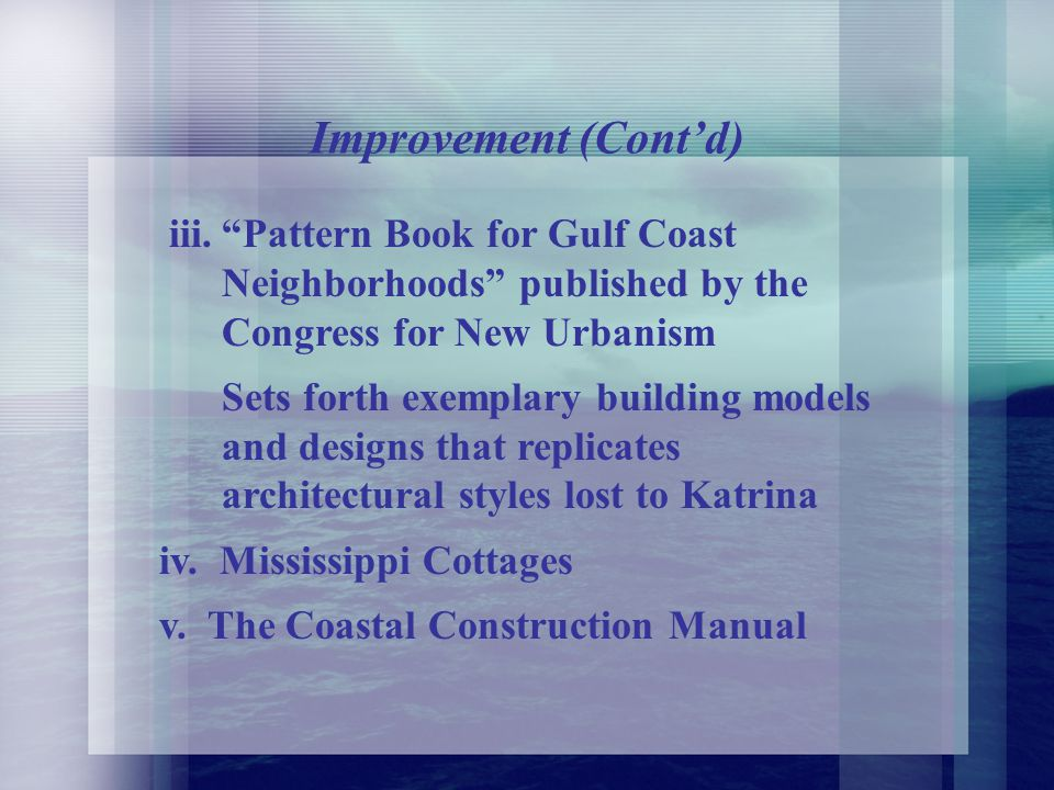 Improvement (Contd) ii.