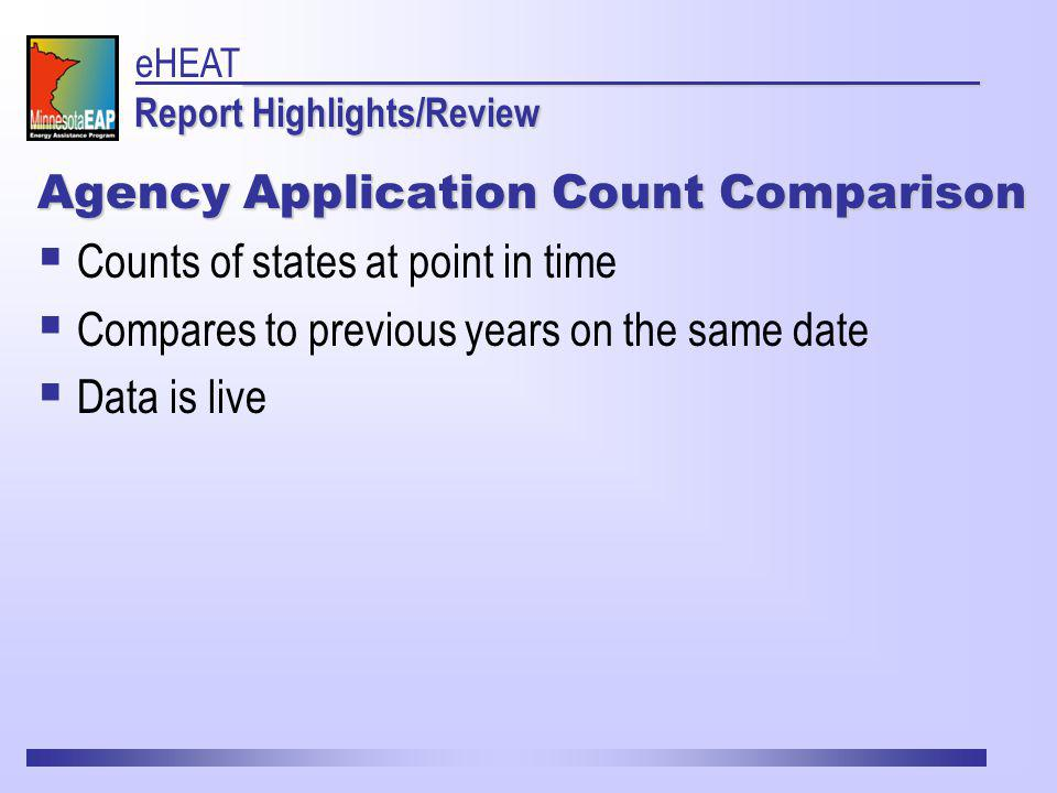 Agency Application Count Comparison Counts of states at point in time Compares to previous years on the same date Data is live Report Highlights/Review eHEAT Report Highlights/Review