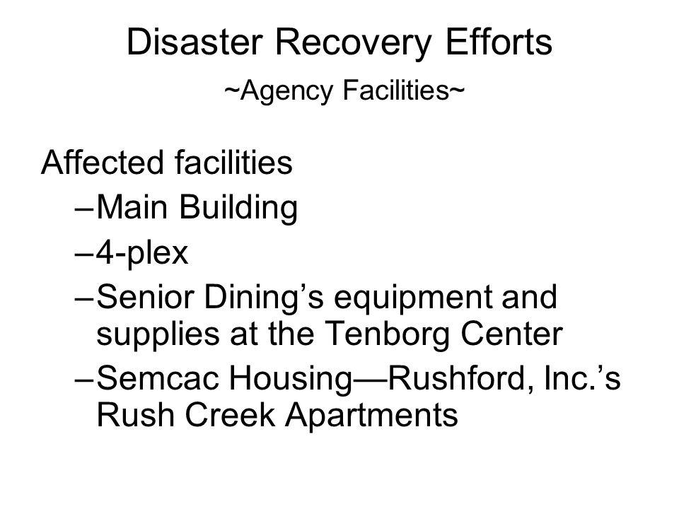 Disaster Recovery Efforts ~Agency Facilities~ Affected facilities –Main Building –4-plex –Senior Dinings equipment and supplies at the Tenborg Center –Semcac HousingRushford, Inc.s Rush Creek Apartments