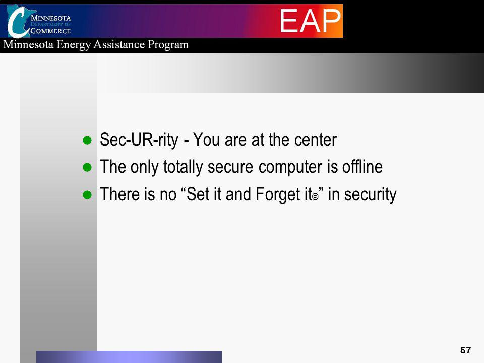 Sec-UR-rity - You are at the center The only totally secure computer is offline There is no Set it and Forget it © in security 57