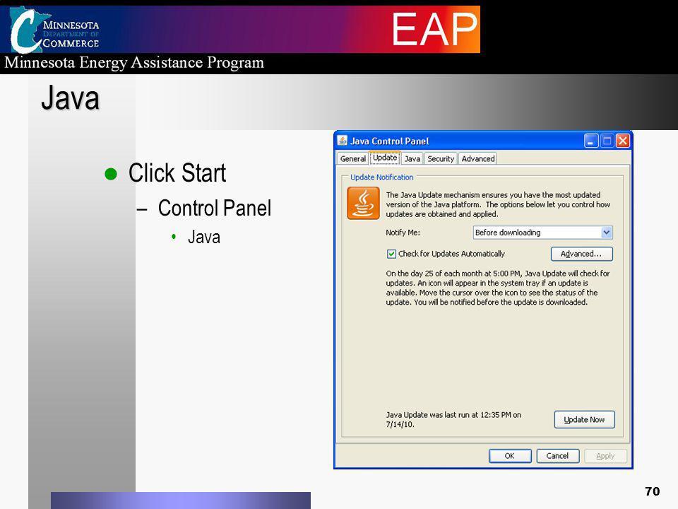 Java Click Start –Control Panel Java 70