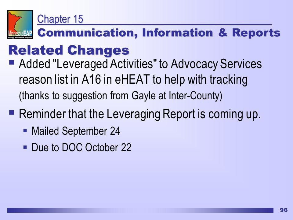 96 Related Changes Added Leveraged Activities to Advocacy Services reason list in A16 in eHEAT to help with tracking (thanks to suggestion from Gayle at Inter-County) Reminder that the Leveraging Report is coming up.