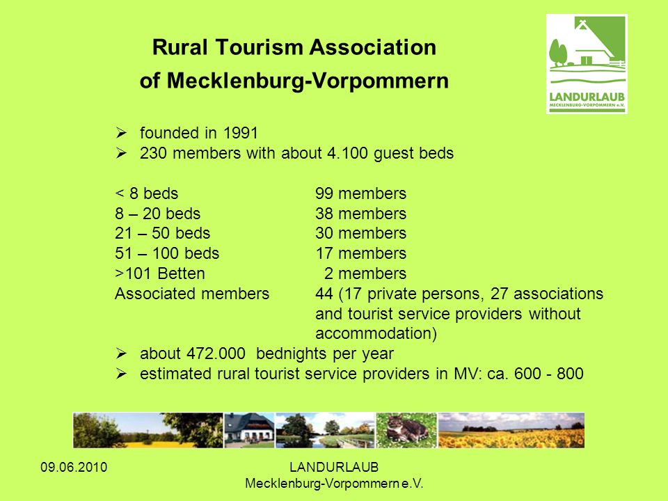 09.06.2010LANDURLAUB Mecklenburg-Vorpommern e.V. Rural Tourism Association of Mecklenburg-Vorpommern founded in 1991 230 members with about 4.100 gues