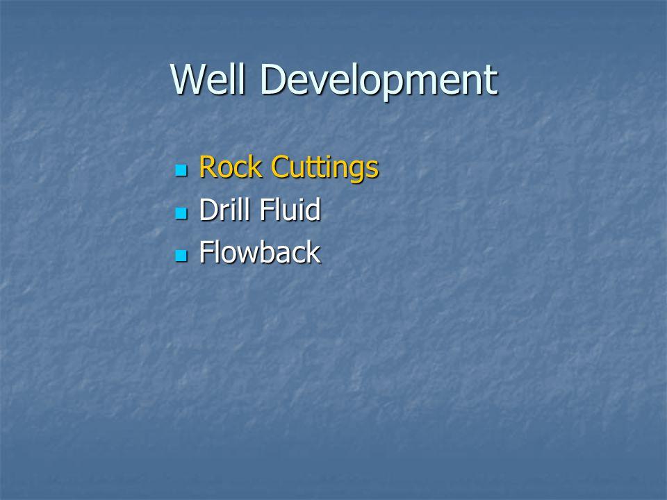 Well Development Rock Cuttings Rock Cuttings Drill Fluid Drill Fluid Flowback Flowback