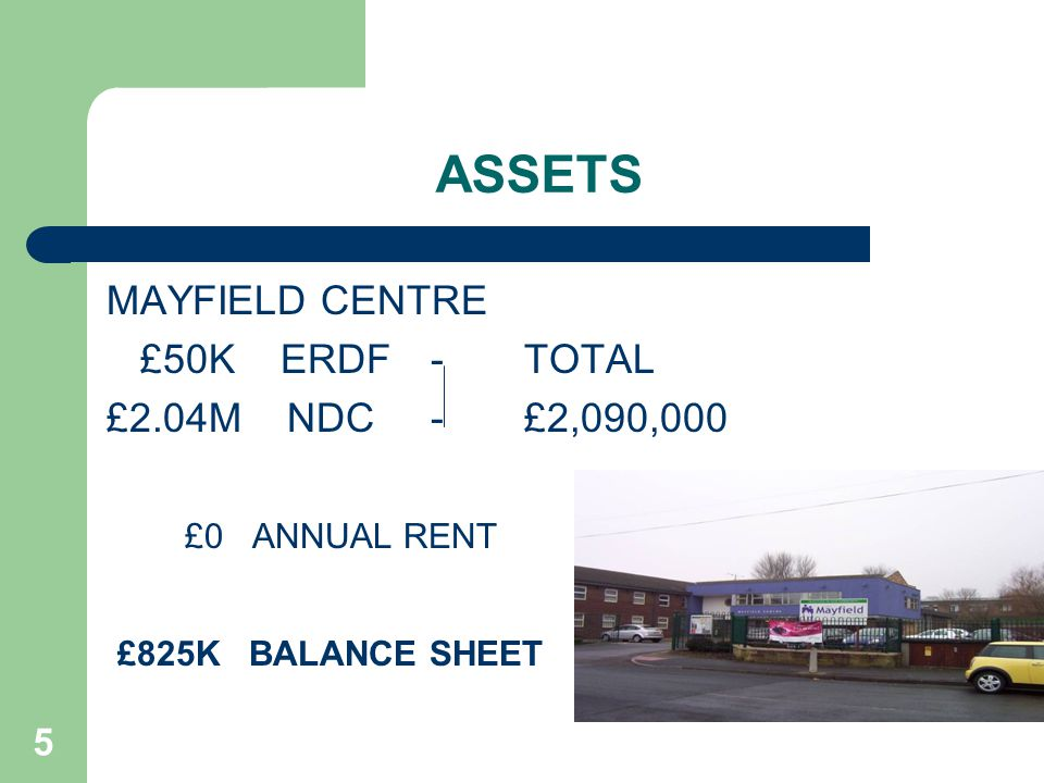5 ASSETS MAYFIELD CENTRE £50K ERDF - TOTAL £2.04M NDC - £2,090,000 £0 ANNUAL RENT £825K BALANCE SHEET
