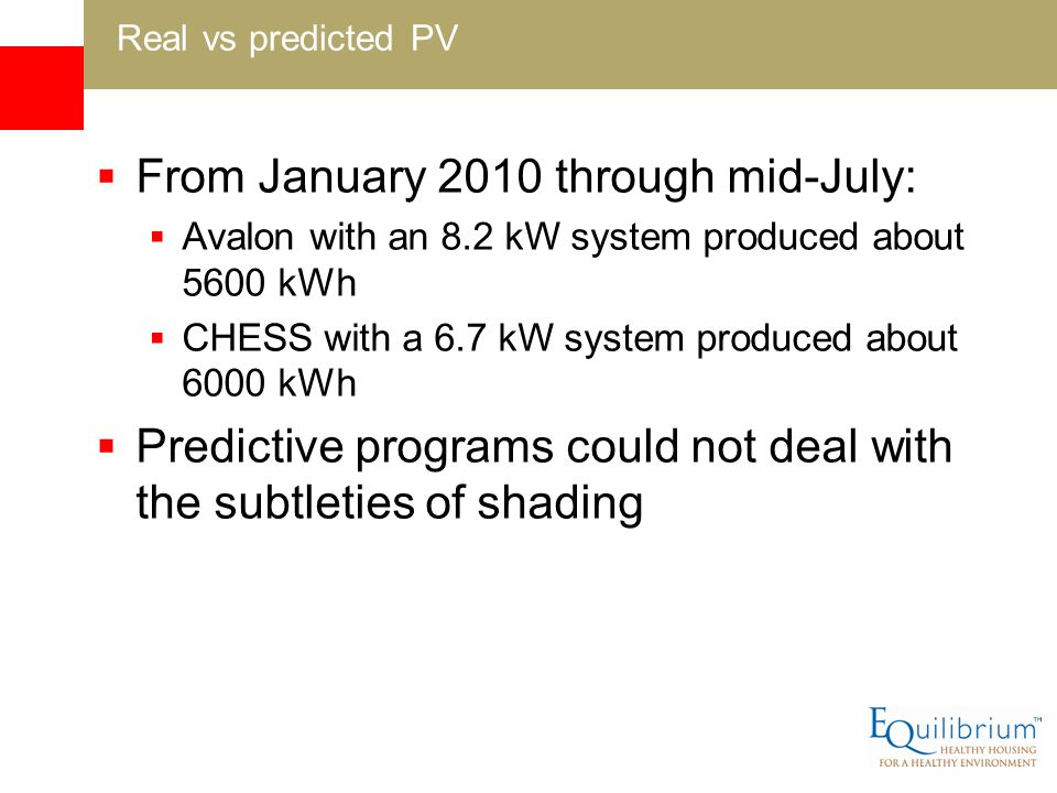 From January 2010 through mid-July: Avalon with an 8.2 kW system produced about 5600 kWh CHESS with a 6.7 kW system produced about 6000 kWh Predictive