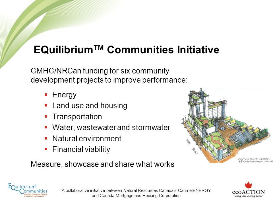 A collaborative initiative between Natural Resources Canadas CanmetENERGY and Canada Mortgage and Housing Corporation EQuilibrium TM Communities Initi