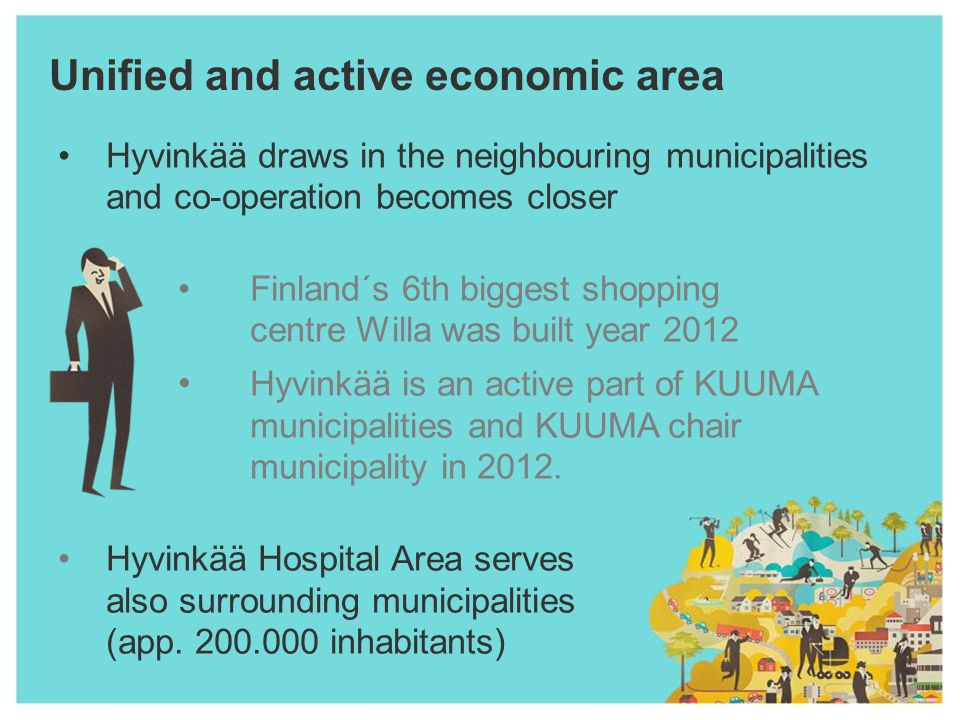 Unified and active economic area Hyvinkää draws in the neighbouring municipalities and co-operation becomes closer Finland´s 6th biggest shopping centre Willa was built year 2012 Hyvinkää is an active part of KUUMA municipalities and KUUMA chair municipality in 2012.