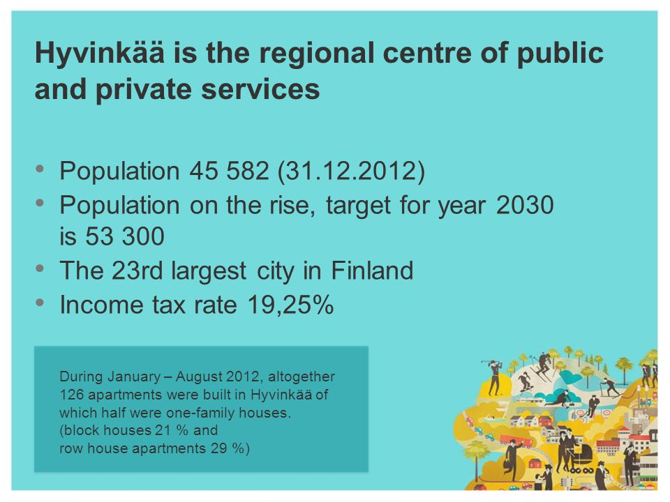 Hyvinkää is the regional centre of public and private services Population 45 582 (31.12.2012) Population on the rise, target for year 2030 is 53 300 The 23rd largest city in Finland Income tax rate 19,25% During January – August 2012, altogether 126 apartments were built in Hyvinkää of which half were one-family houses.