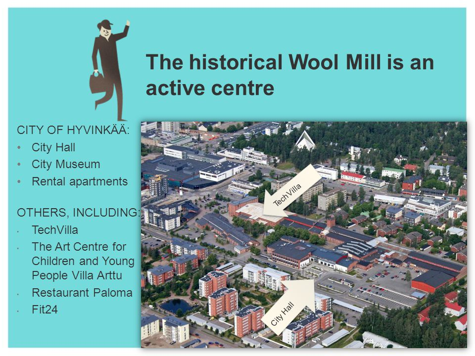 The historical Wool Mill is an active centre CITY OF HYVINKÄÄ: City Hall City Museum Rental apartments OTHERS, INCLUDING: TechVilla The Art Centre for