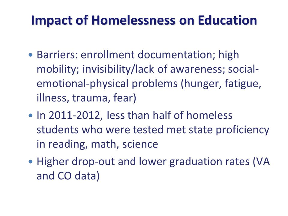 Barriers to Higher Education Access Lack of parental income and support Barriers accessing financial aid Barriers receiving subsequent year determinations of homeless status Lack of housing during holiday and summer breaks Food insecurities on campus Lack of information about available support systems Struggle to balance school and other responsibilities