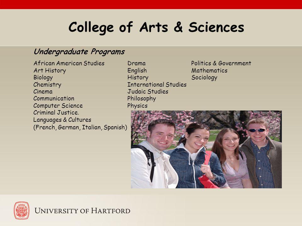 College of Arts & Sciences Undergraduate Programs African American Studies Drama Politics & Government Art History English Mathematics Biology History