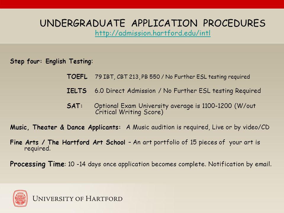 UNDERGRADUATE APPLICATION PROCEDURES http://admission.hartford.edu/intl http://admission.hartford.edu/intl Step four: English Testing : TOEFL 79 IBT,