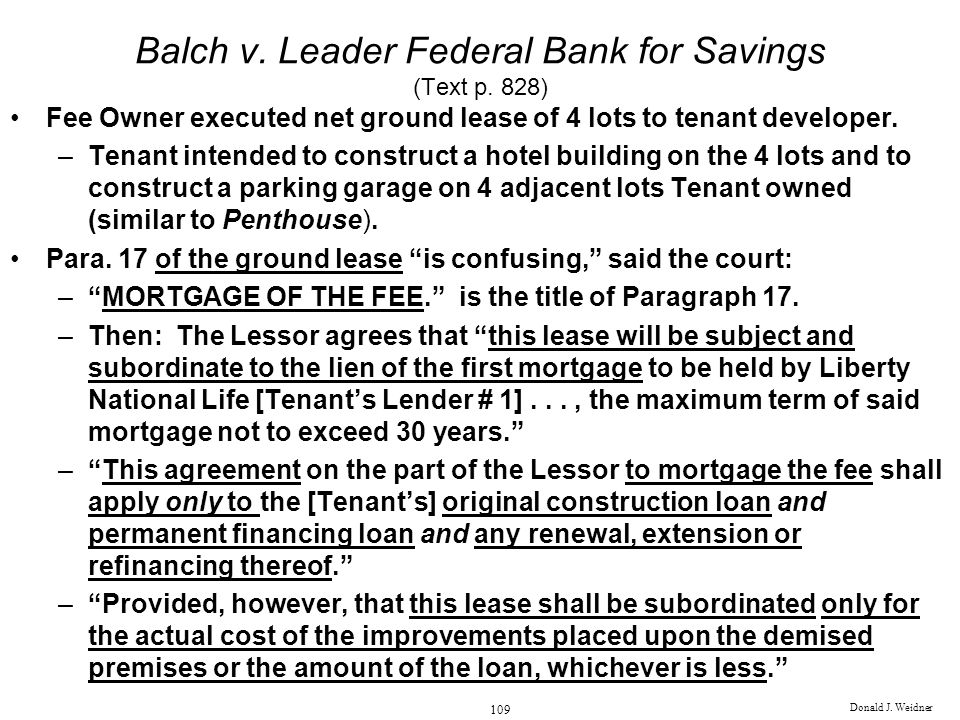 Donald J.Weidner 109 Balch v. Leader Federal Bank for Savings (Text p.