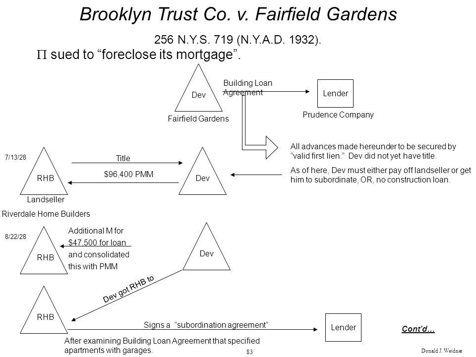 Donald J. Weidner 83 Brooklyn Trust Co. v. Fairfield Gardens 256 N.Y.S. 719 (N.Y.A.D. 1932). sued to foreclose its mortgage. Dev Fairfield Gardens Len