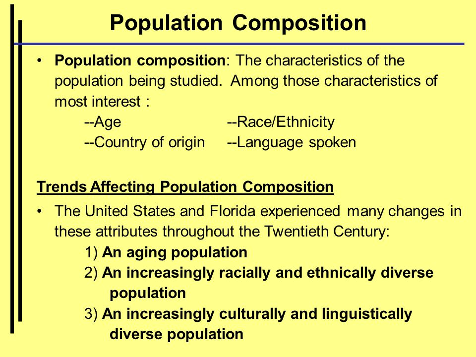 Population Composition Population composition: The characteristics of the population being studied.