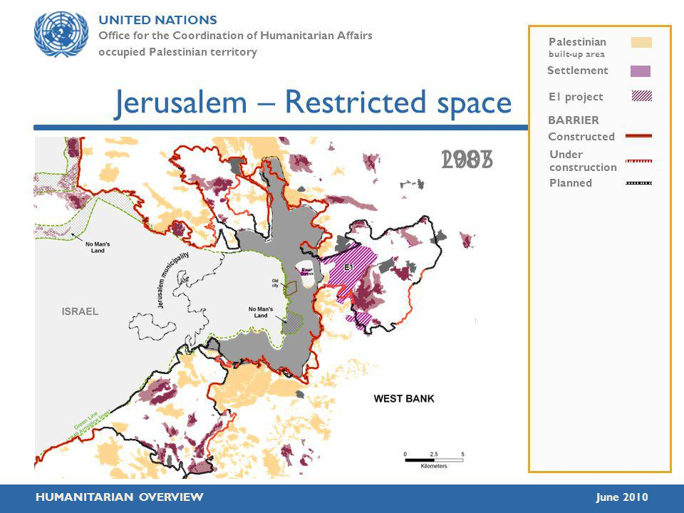 UNITED NATIONS Office for the Coordination of Humanitarian Affairs occupied Palestinian territory HUMANITARIAN OVERVIEWJune 2010 19872005 Jerusalem – Restricted space BARRIER Constructed Under construction Planned E1 project Palestinian built-up area Settlement