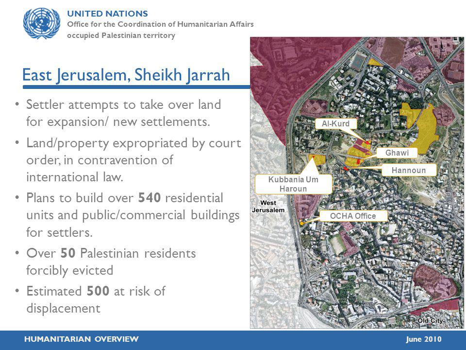 UNITED NATIONS Office for the Coordination of Humanitarian Affairs occupied Palestinian territory HUMANITARIAN OVERVIEWJune 2010 East Jerusalem, Sheikh Jarrah Settler attempts to take over land for expansion/ new settlements.