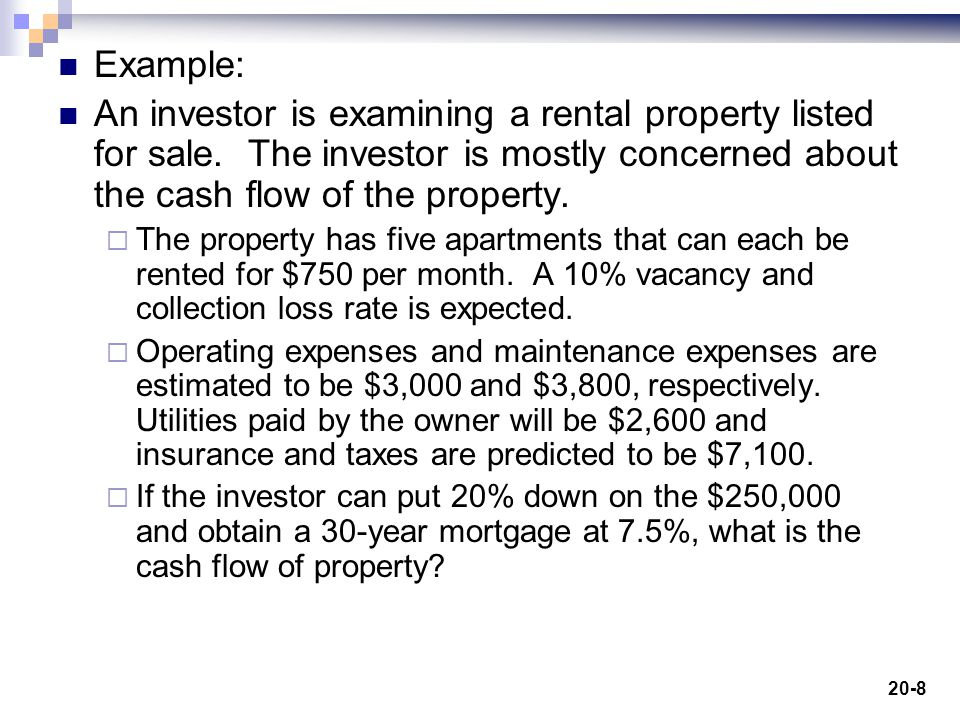 20-8 Example: An investor is examining a rental property listed for sale.
