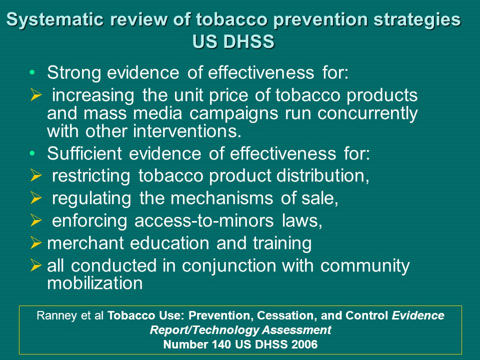 Systematic review of tobacco prevention strategies US DHSS Strong evidence of effectiveness for: increasing the unit price of tobacco products and mass media campaigns run concurrently with other interventions.