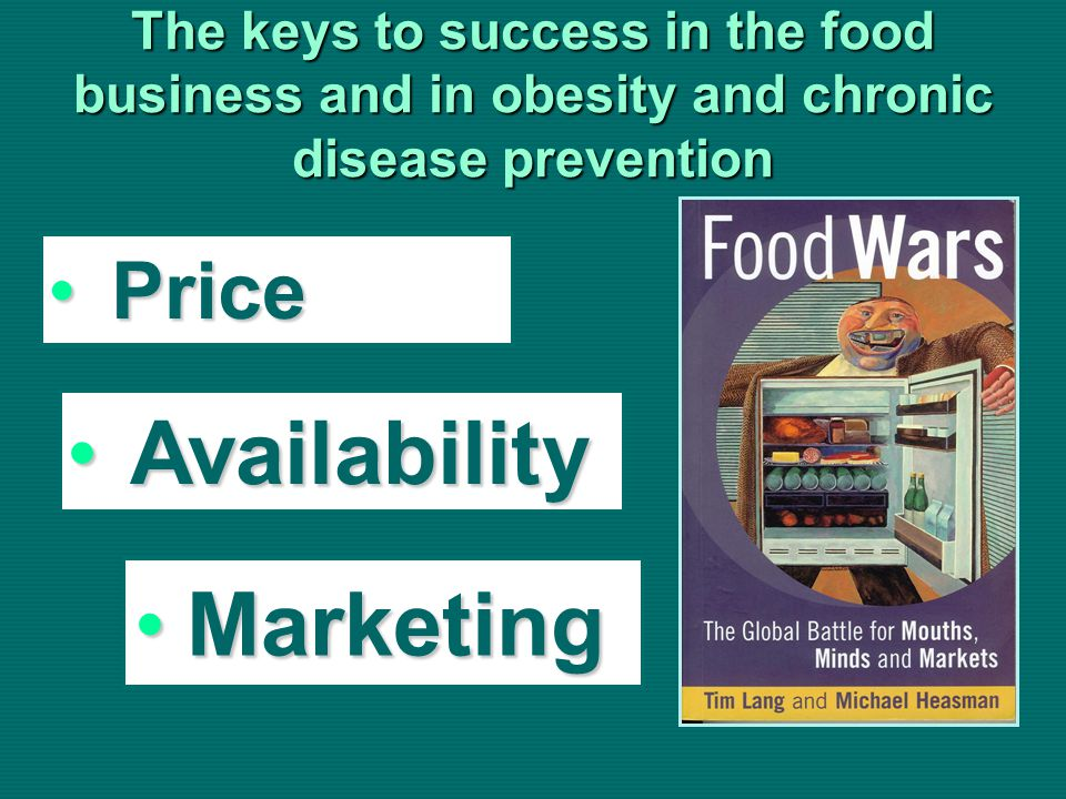 The keys to success in the food business and in obesity and chronic disease prevention PricePrice AvailabilityAvailability MarketingMarketing