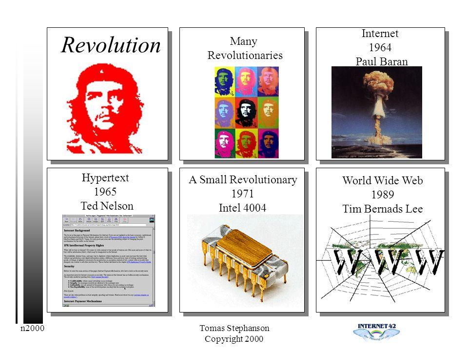 n2000Tomas Stephanson Copyright 2000 Revolution Many Revolutionaries Hypertext 1965 Ted Nelson A Small Revolutionary 1971 Intel 4004 World Wide Web 1989 Tim Bernads Lee Internet 1964 Paul Baran