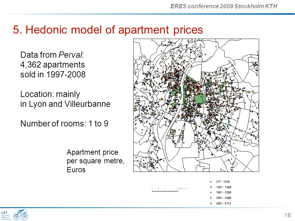 ERES conference 2009 Stockholm KTH 16 5. Hedonic model of apartment prices Data from Perval: 4,362 apartments sold in 1997-2008 Location: mainly in Ly
