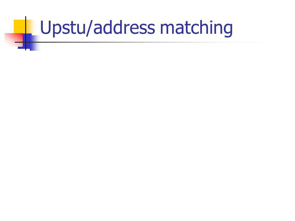Upstu/address matching