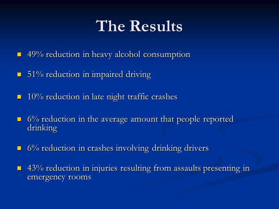 The Results 49% reduction in heavy alcohol consumption 49% reduction in heavy alcohol consumption 51% reduction in impaired driving 51% reduction in i