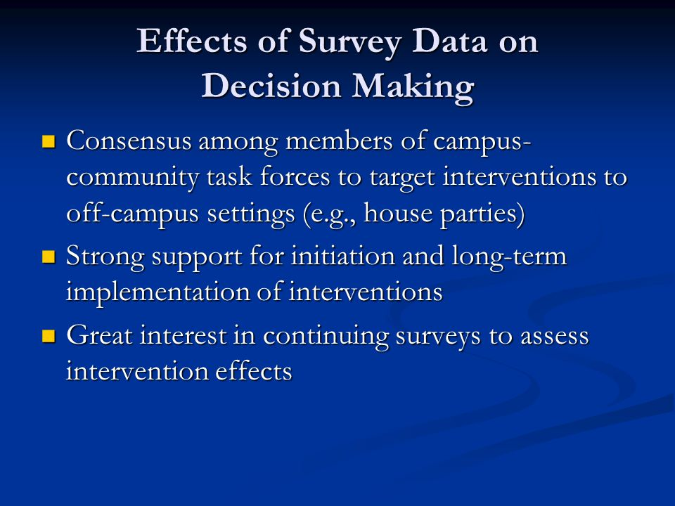 Effects of Survey Data on Decision Making Consensus among members of campus- community task forces to target interventions to off-campus settings (e.g