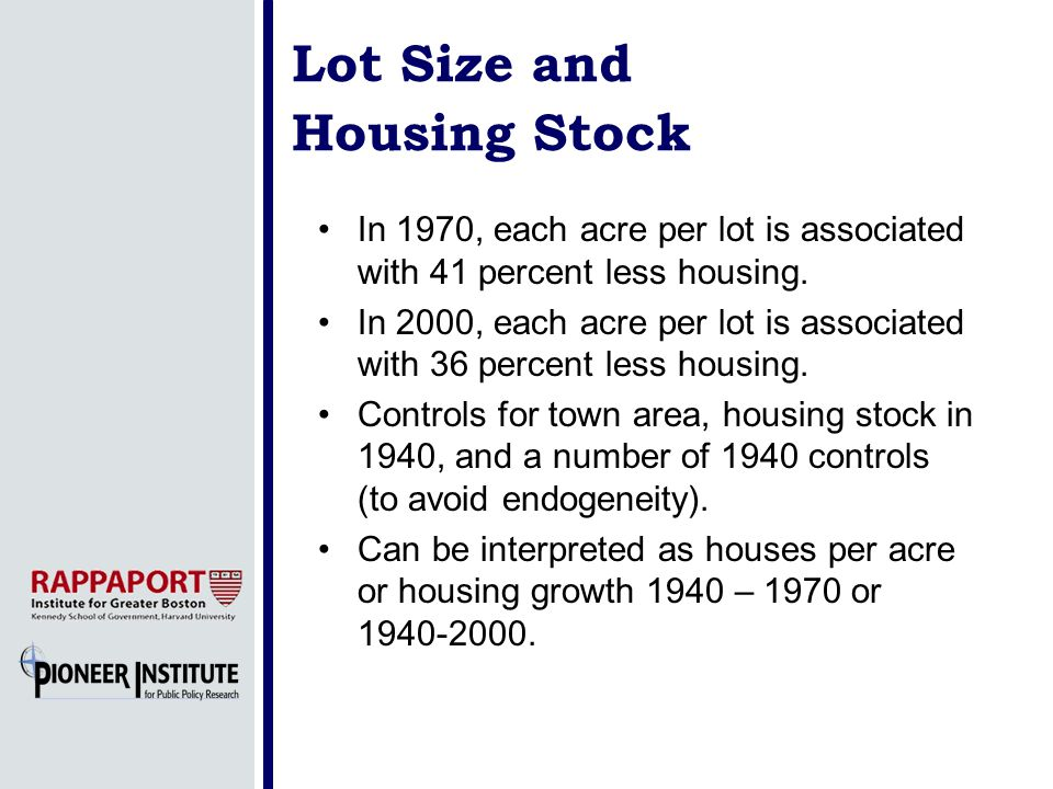 Lot Size and Housing Stock In 1970, each acre per lot is associated with 41 percent less housing. In 2000, each acre per lot is associated with 36 per