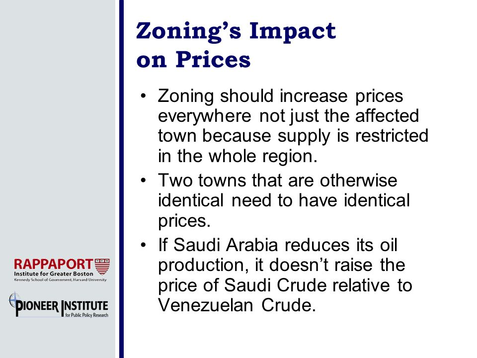 Zonings Impact on Prices Zoning should increase prices everywhere not just the affected town because supply is restricted in the whole region.