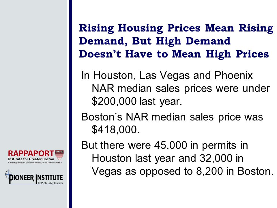 Rising Housing Prices Mean Rising Demand, But High Demand Doesnt Have to Mean High Prices In Houston, Las Vegas and Phoenix NAR median sales prices were under $200,000 last year.