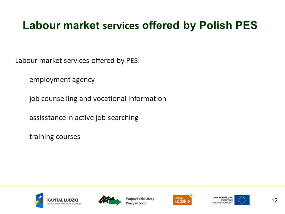 12 Labour market services offered by Polish PES Labour market services offered by PES: -employment agency -job counselling and vocational information