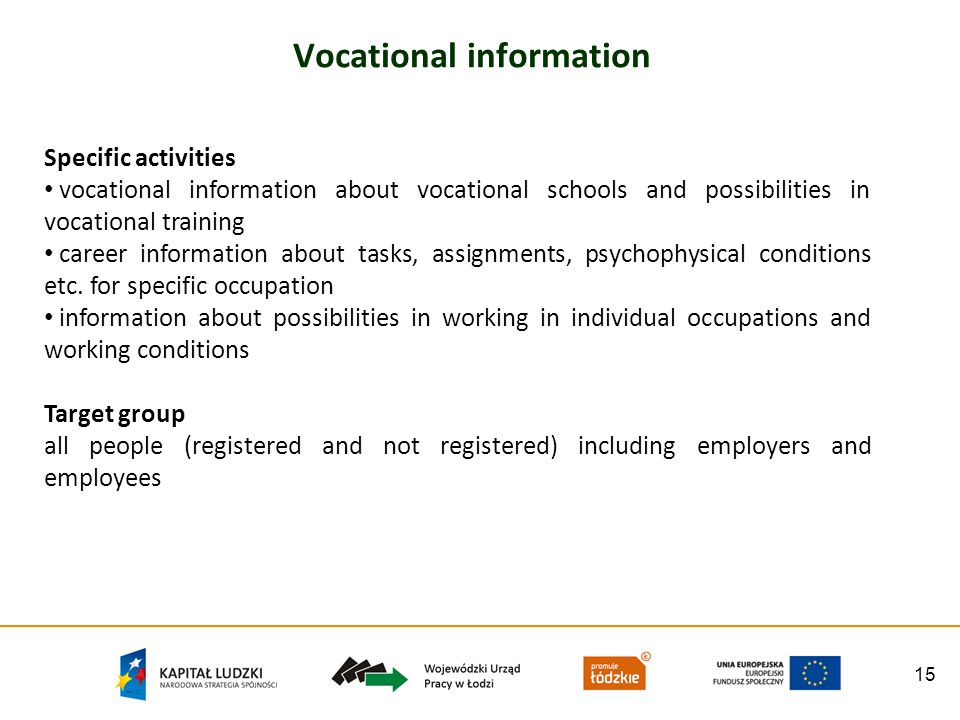 15 Vocational information Specific activities vocational information about vocational schools and possibilities in vocational training career information about tasks, assignments, psychophysical conditions etc.