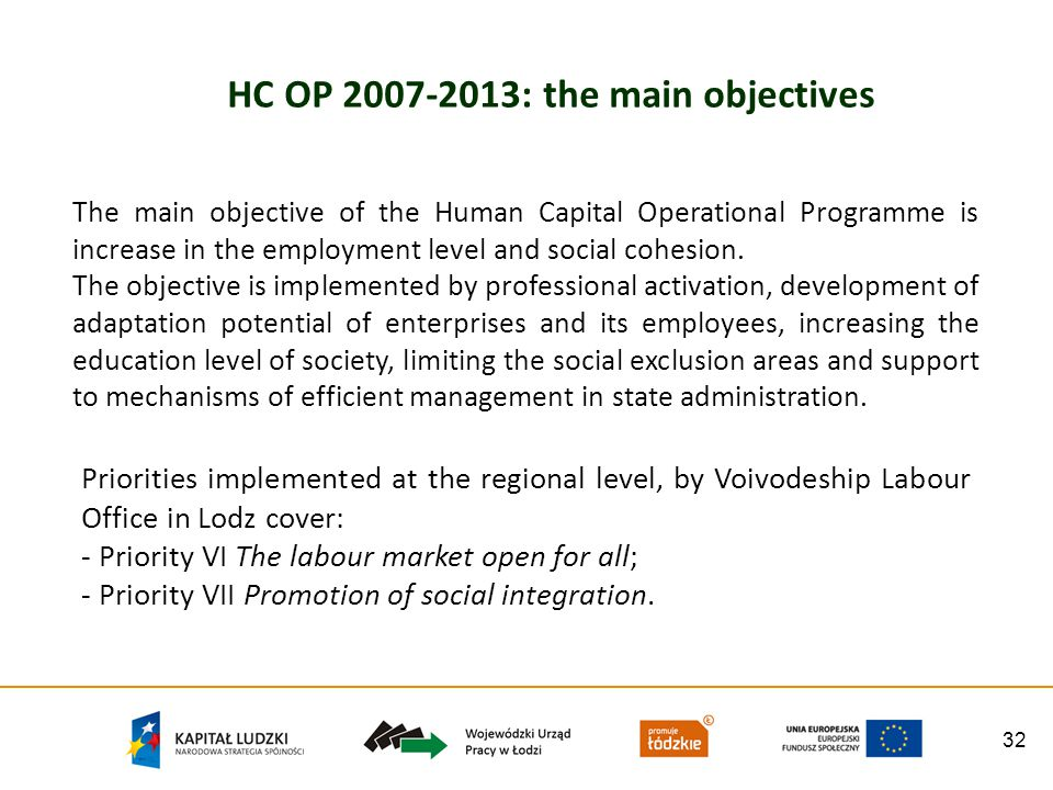 32 HC OP 2007-2013: the main objectives The main objective of the Human Capital Operational Programme is increase in the employment level and social cohesion.