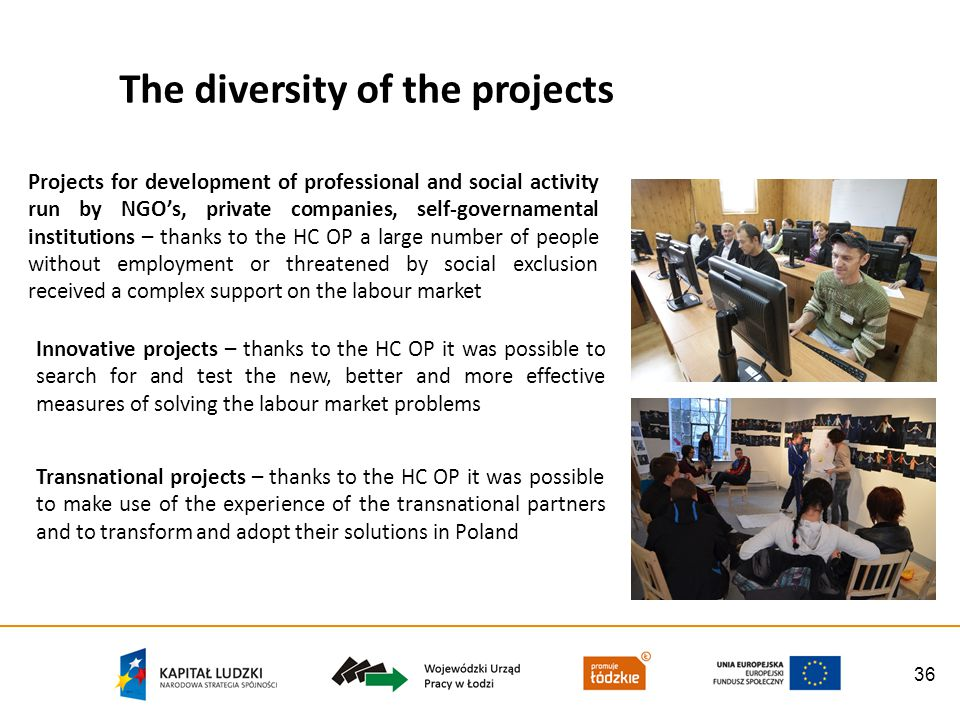 36 The diversity of the projects Projects for development of professional and social activity run by NGOs, private companies, self-governamental institutions – thanks to the HC OP a large number of people without employment or threatened by social exclusion received a complex support on the labour market Innovative projects – thanks to the HC OP it was possible to search for and test the new, better and more effective measures of solving the labour market problems Transnational projects – thanks to the HC OP it was possible to make use of the experience of the transnational partners and to transform and adopt their solutions in Poland