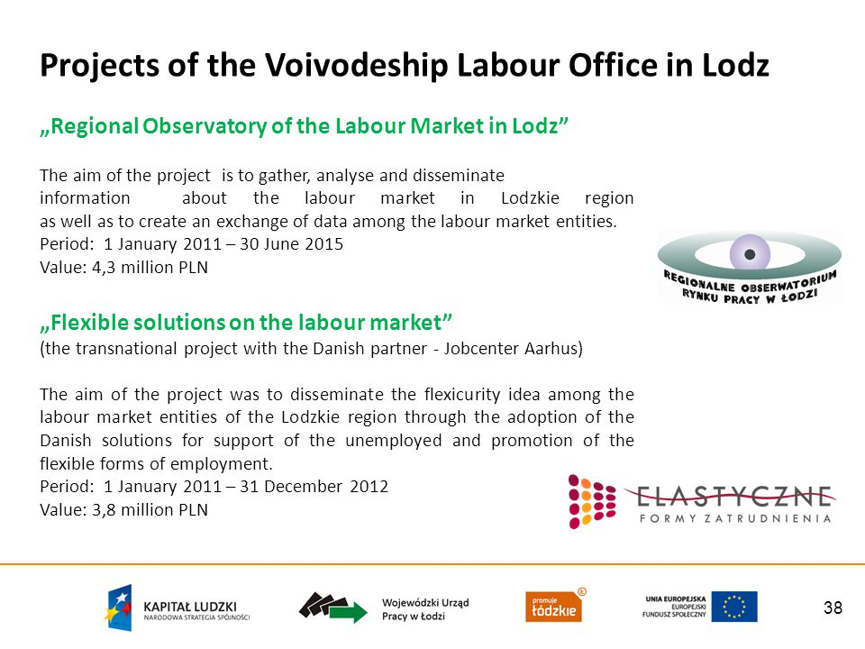 38 Projects of the Voivodeship Labour Office in Lodz Regional Observatory of the Labour Market in Lodz The aim of the project is to gather, analyse and disseminate information about the labour market in Lodzkie region as well as to create an exchange of data among the labour market entities.
